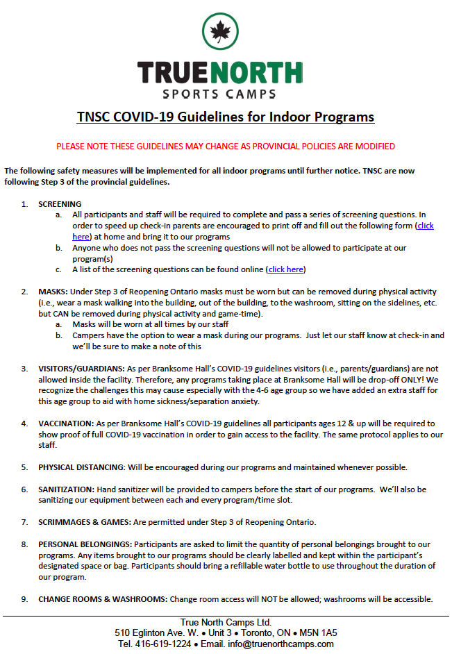 TNSC COVID-19 Guidelines for Indoor Programs